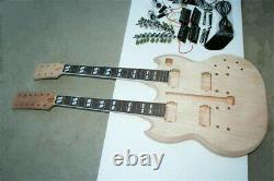 1 set DIY unfinished Double Guitar Neck and body guitar kit all parts