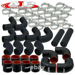 12 Piece 2.5 Intercooler Black Piping Kit +T-Bolt Clamps +Blk Silicone Couplers