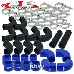 12 Piece 3 Black Intercooler Piping Kit + T-Bolt Clamps +Blue Silicone Couplers