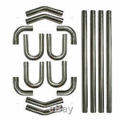 16PC 2.5 Stainless Steel T304 DIY Custom Mandrel Exhaust Pipe Straight&Bend Kit