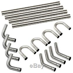 16pcs 3 76mm Steel DIY Custom Mandrel Exhaust Pipe Straight & Bend Kit