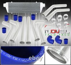 2.5 64mm Polish Aluminum Intercooler Pipe Blue Hose Tbolt Clamp Intercooler Kit