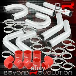 2.5 Inch 8Pcs Polished Intercooler Pipe Kit + U Bend + Red Coupler T-Bolt Clamps