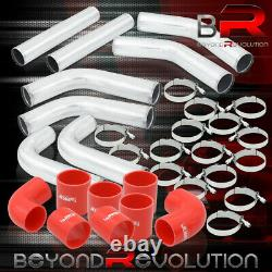 2.5 Inch Universal 8Pc Polished Intercooler Pipe Kit +Red Couplers T-Bolt Clamps