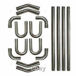 2.5 Stainless Steel DIY Custom Mandrel Exhaust Pipe Straight&Bend Kit 2-1/2