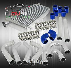 3 Aluminum Pipe Piping Kit + Jdm Intercooler Turbo Boost +Blue Couplers +Clamps