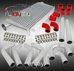 3 Fmic Turbo Bar & Plate Intercooler+2.5 8Pcs Polish Pipe Diy Kit+Red Coupler