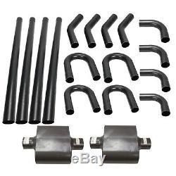 3 Inch Mild Steel DIY Universal Custom Exhaust Pipe Tubing Bend Kit with Mufflers