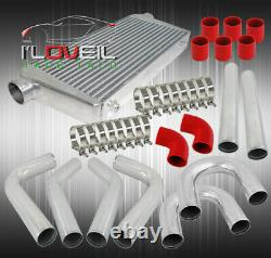 3 Turbo Intercooler + Piping Kit U Straight 90 120 Degree +Red Couplers+ Clamps