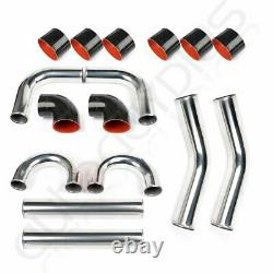 4 Universal 8pcs Intercooler Turbo Pipe Piping+ Silicone Hose T-Clamp Kit