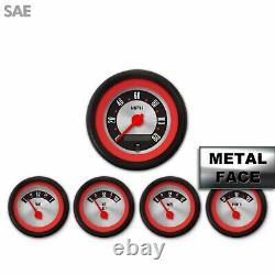 5 Gauge Set SAE Amer Retro Rod Rd Rng V, Rd Mod Nedl, Black Trm Rngs Kit DIY