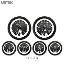 6 Ga. Set with emblem Metric CF White Flame, Black Mod Nedl, Black Rngs Kit DIY