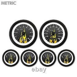 6 Ga. Set withemblem-Metric CF Yellow Flame, Black Mod Nedl, Black Rngs Kit DIY
