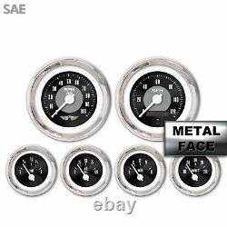 6 Ga. Set withemblem-SAE Amer Clasic Black II, White Mod Nedl, Chrom Rngs Kit DIY