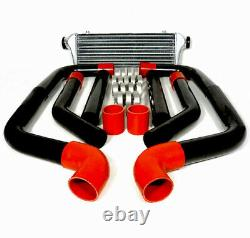 8 Pcs 2.5 Red Coupler Black Aluminum Piping Kit With 28 X 7 Fmic Intercooler