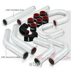 8 Pcs 3 Intercooler Piping Kit + U Bend + T-Bolt Clamps + Blk Silicone Couplers