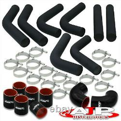 8 Piece 3 Black Intercooler Piping Kit + T-Bolt Clamps + Blk Silicone Couplers