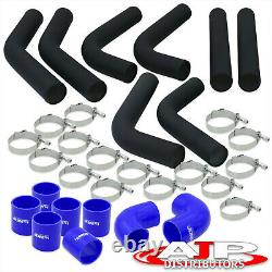 8 Piece 3 Black Intercooler Piping Kit + T-Bolt Clamps + Blue Silicone Couplers