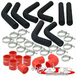 8 Piece Black 2.5 Intercooler Piping Kit + T-Bolt Clamps +Red Silicone Couplers
