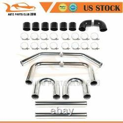 8PC 3 inch Turbo Intercooler Pipe Silicone Hose T-Clamp Kit Set Universal