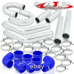 8Pc 2.5 Intercooler Piping Kit + U Bend + T-Bolt Clamps +Blue Silicone Couplers