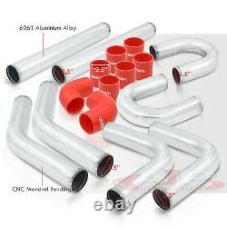 8Pc 2.5 Intercooler Piping Kit + U Bend + T-Bolt Clamps + Red Silicone Couplers