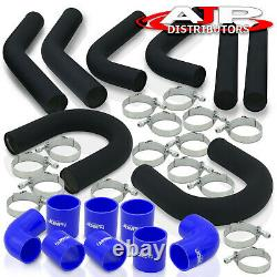8Pc 3 Blk Intercooler Piping Kit + U Bend +T-Bolt Clamps +Blue Silicone Coupler