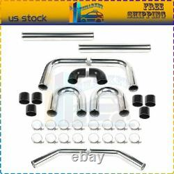 8Pcs 3 In Intercooler Piping Kit U Bend PIPE T-Bolt Clamps + Silicone Couplers