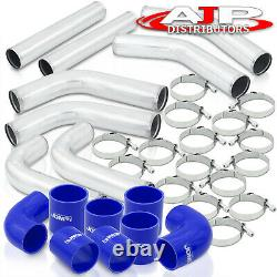 8Pcs Universal 3 Intercooler Piping Kit + T-Bolt Clamps +Blue Silicone Couplers