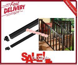 Aluminum Picket Stair Hand and Base Rail Kit Black 6 FT. DIY Cut to Custom New