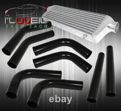 Bar And Plate Fmic Intercooler + 8Pc Diy Turbo Piping Pipe Kit Black Couplers