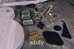 Custom LP Style DIY Unfinished Electric Guitar Kit 3pcs Pickups Flamed Maple Top
