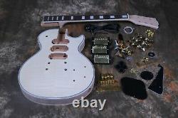 DIY Unfinished Custom LP Electric Guitar Kit 3pcs Pickups Flamed Maple Top