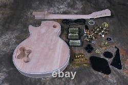 DIY Unfinished Custom LP Electric Guitar Kit Flamed Maple Top Gold Hardware