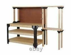DIY Work Bench Table Kit Custom Storage Wooden Shelf Links Garage Workshop Home