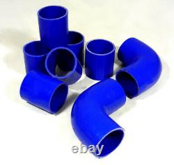 Diy Custom 8Pcs Black Pipe Intercooler 2.5 Piping Kit +Blue Coupler For Nissan