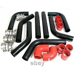 Diy Custom 8Pcs Black Pipe Intercooler 2.5 Piping Kit With Red Coupler Lexus