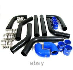 Diy Custom8Pcs Black Pipe Intercooler 2.5 Piping Kit With Blue Coupler For Subaru