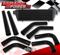 Diy Turbo Charge Intercooler + Aluminum Piping Kit Black + Silicone Coupler Red