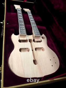 Diy-new Double Neck Eds Style 12/6 Electric Guitar Builder Kit With Tweed Case