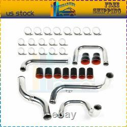 Fits Civic Integra 92-00 Intercooler Pipe Piping & Silicone Hose T-Clamp Kit