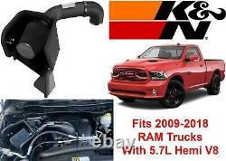 K&N 71-1561 Black Cold Air Intake Kit Increase Horsepower For 2009+ Dodge/RAM