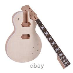 Muslady LP Unfinished Electric Guitar DIY Kit Mahogany Body & Neck RoseWood W0H3
