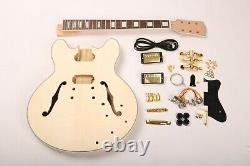 Naughty Body Electric Guitar Kit 335 Style Flamed maple Top Veneer Gold DIY kits