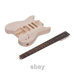 US Unfinished DIY Electric Guitar Kit Basswood Body Maple Neck NO Headstock W5D7