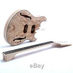 Unfinished Electric Guitar DIY Kits F Hole Languedoc Splited Maple Top Veneer