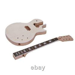 Unfinished LP Style Electric Guitar DIY Kit Top-Solid Mahogany Body Neck Custom