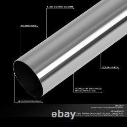 Universal 16-Pieces 2.5OD SS DIY Custom Exhaust Pipe Straight & U-Bands Kit