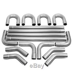 Universal 16-Pieces 3OD Steel DIY Custom Exhaust Pipe Straight & Bends Kit