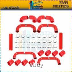 Universal 2.5 10 pcs DIY Intercooler Pipe Piping & Silicone Hose T-Clamp Kit